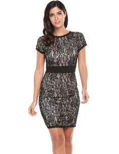 Black Lace Patchwork O-Neck Short Sleeve Slim Tunic Package Hip Dress