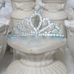 Blue princess tiara with crystal rhinestones by AVCustomDesigns $8.00 **Bulk orders welcome**