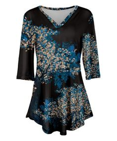 Blue & Black Floral V-Neck Tunic - Plus Too #zulily #zulilyfinds