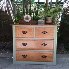 Restored by My Sister's House using Chateau Grey Chalk Paint™ by Annie Sloan. Dark wax highlights the hand carving on the draws. All work performed by My Sister's House. Rockhampton. Qld. Australia.