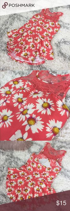 """Sunflower Orange Ruffle Top NWOT. Lace cut out back. Stretchy 100% spandex   ▫️Add to Bundle"""" to add more items in my closet or """"Buy"""" to checkout here with your size.  ↓Follow me on Instagram ↓         @ love.jen.marie Papaya Tops Tank Tops"""