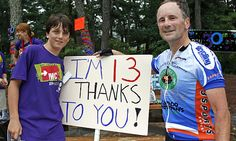 Jack at age 13 with a Pan Mass Challenge rider.