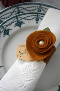 felt rosette napkin ring