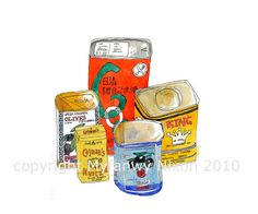 Watercolour tins by Myfanwy Nixon