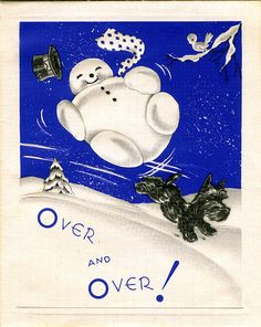 vintage blue Christmas card with a snowman and a Scottish terrier / Scotty dog