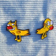 Cat Dog Pin Set/ Best Friend Pins/ Best Friends/ Cat Lover/ Dog Lover/ Lapel Pins/ Cartoon Pins/ Wear On Your Collar/Animal Gifts /90's kids