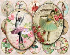 Vintage Ballerina - Oval Images - Glass Cabochon - 30 x 40 mm - Digital Stamp - Digital Collage Sheet