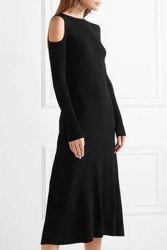 Barbara Casasola - Cold-shoulder Ribbed Stretch-knit Midi Dress - Black - IT46