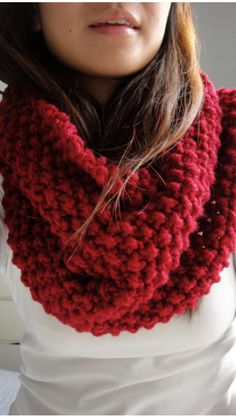 Brooke Chunky Infinity Scarf Cowl, Cranberry Red from LuluLuvs on Etsy. Loom Knitting Patterns, Hand Knitting, Crochet Patterns, Chunky Infinity Scarves, Scarf Hat, Knitted Gloves, Crochet Scarves, Crochet Stitches, Couture