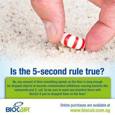 Is the 5 second rule true?  No, any amount of time something spends on the floor is long enough for dropped objects to become contaminated with illness-causing bacteria like salmonella and E. coli. So be sure to wash and disinfect items with BioCair if you've dropped them on the floor!