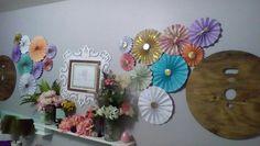 Craft room decor organization colorful cheery shabby chic Sugardivasdesigns purple coral pink teal mint white gold pinwheels