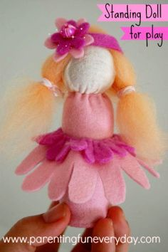 How To Make A Standing Doll For Play Using Felt No.19 in the 30 Days of Dolls how-to series.  There are so many cute and easy dolls. Have a look!  www.parentingfuneveryday.com