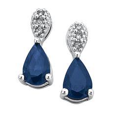 6e08b0af9e14 Aretes oro blanco 14k con 3 puntos de diamante y 108 puntos de zafiro