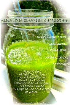 Alkaline Cleansing Smoothie - Heavy metal detox, Alkalizing, Clear Skin, Anti-bacterial, Anti-aging.  1 Rib Celery * 1/2 Cucumber * 1 handful Cilantro * 1 handful Parsely * 1 thumb size slice of Ginger * 1/2 Lemon, peeled * 1-2 C Coconut Water or Distilled Water