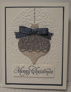Silver Glimmer Ornament Christmas Card