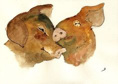 "Pig Love Kiss Hog Pink 11x8"" Original Art Watercolor Animal Painting Juan Bosco 