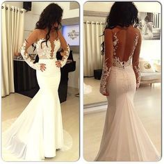 Sexy Mermaid Wedding Dresses Lace Long Sleeve Sheer Back Bridal Gown Custom Made