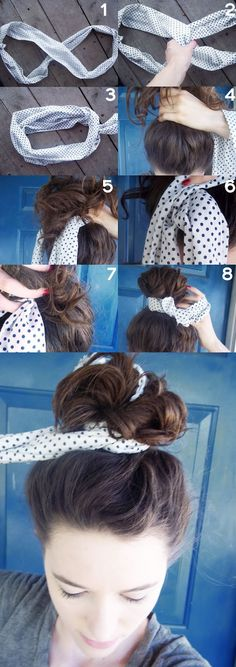 Tie your hair bun with a scarf: how to