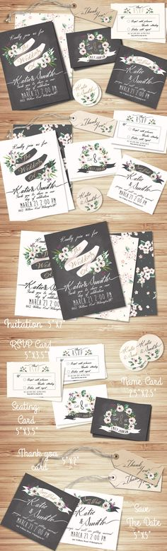 Wedding Invitation Suite Templates by Graphic Box | The Comprehensive, Creative Vectors Bundle Mar 2015 from Design Cuts