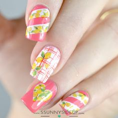 """ssunnysideup: [REVIEW] Lemon water decals nails  Items used:  flormar #N003 Mundo de Unas """"51 Tulip"""" Color Club """"French Tip"""" Spring image plate 09"""