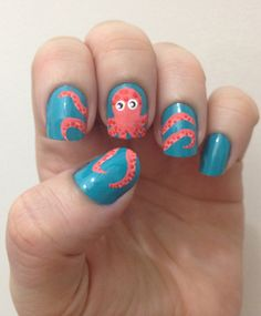 How fun & fresh are these funky octopus nails! Plus we love the color combination of teal and coral. Why not add a fun flair to your style w/ sassy nails like these?