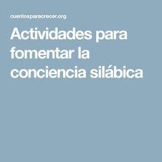 Actividades para fomentar la conciencia silábica