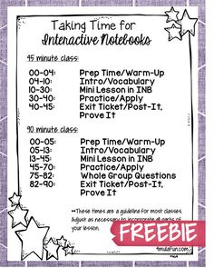 Taking Time for Interactive Notebooks FREEBIE