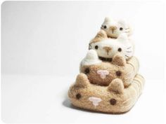 Cat Pebbles  needle felted wool pebbles by KaffeeKatze on Etsy, $25.00