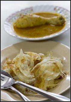 Roti with masaman curry at Abduls roti shop on Thalang Road in Old Phuket Town