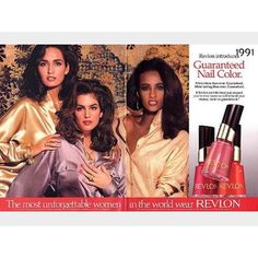 "REVLON || ""The Most Unforgettable Women In The World"" Revlon ad campaigns in the 1990s shot by photographer Richard Avedon were the most prestigious ads a model could get booked for in the USA at the time - even bigger than shooting the cover of Vogue magazine. Me, @cindycrawford & @the_real_iman shot together for this one in a studio in NYC. Who remembers these ads.....?!! GE xx #revlon #gailelliott #cindycrawford #iman #tbt"
