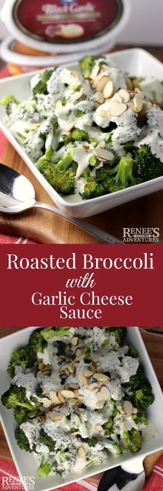 Roasted Broccoli with Garlic Cheese Sauce - easy side dish recipe to compliment any kind of meat! #ad #FinlandiaCheese @finlandiacheese Holiday, side dish, cheese, broccoli