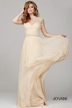 Champagne Cap Sleeve Prom Dress 31285