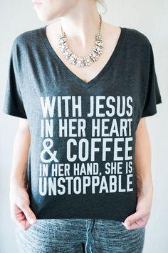 Jesus & Coffee- Slouchy Tee