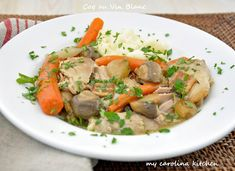 Coq au Vin Blanc - lighten & brightened for spring by substituting white wine for red - from My Carolina Kitchen