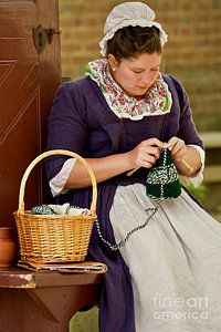 People Knitting Photograph - A Colonial Lady Knits by Rachel Morrison