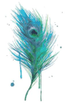 Watercolour Peacock Feather Modern Counted Cross Stitch Pattern | Instant PDF Download  Please note that this is for a digital pattern only not the completed article.  You will receive one PDF file containing the following: - Details for sizes and floss colours - A pattern chart with coloured blocks and symbols spread across several pages for easy reading - A one page pattern chart with coloured blocks and symbols  Pattern Info: - Designed for 18 count white Aida, but will work fine for any…