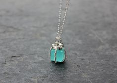 Tiny Present Necklace Aqua Blue Gift Box by NicNakPattyWack