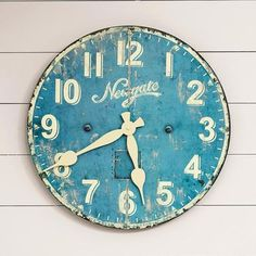 Reminiscent of the wall clocks in old-fashioned ice cream emporiums, this well-weathered blue Ice Cream Parlor Clock adds a nostalgic note to kitchen, family room, office or child's room.