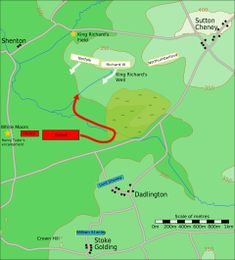 """Battlefield map. Three white boxes are across the top; arrows extend downward from the left two, labelled """"Norfolk"""" and """"Richard III"""", but not from the right one, """"Northumberland"""". Two red boxes are at mid-left: the smaller is """"Henry"""", and the larger, """"Oxford"""" has an arrow going right and then reversing up. Two stationary blue boxes near the bottom are labelled """"Lord Stanley"""" and """"William Stanley""""."""