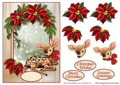 Card Front Poinsettia With Bambi on Craftsuprint designed by Carol James - A lovely card front for Christmas. Some decoupage pieces for that 3D effect. 3 Sentiment tags and 1 blank. Sentiments readMerry ChristmasSeasons GreetingsChristmas Wishes - Now available for download!