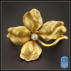 14k Gold Art Nouveau Four Leaf Clover Pin by Whiteside & Blank