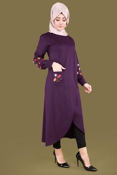 Nakışlı Tesettür Tunik PL702 Mor Hijab Dress, Hijab Outfit, Abaya Fashion, Fashion Outfits, Womens Fashion, Modele Hijab, Gilet Long, Spring Wear, Hijab Chic