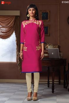 Incredible Straight Kurti Style with Lace & Resham Work. Message/call/WhatsApp at +91-9246261661
