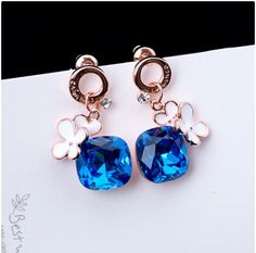 New Stylish Blue Crystal With Flower Alloy With Rose Gold Plated Women's Drop Earrings