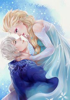 Jack Frost & Elsa by toritewa on deviantART Film Disney, Arte Disney, Disney Couples, Disney Fan Art, Disney Love, Disney Magic, Frozen Love, Elsa Frozen, Disney Frozen