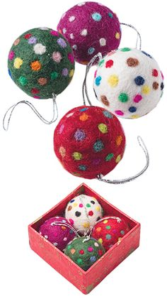 Set of 4 Needle Felted Dotty Bauble Decorations