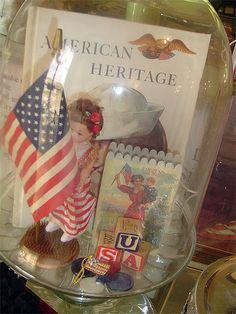 Patriotic vignette under glass