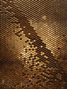 Gold Ceramic Alexander Hexagon tile, by Giles Miller Studio fro Le Lido, Paris