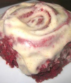 Red Hot Velvet Cinnamon Rolls with Cinnamon Cream Cheese Frosting