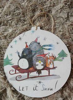 Glob lemn – Let it snow Let It Snow, Let It Be, Decoupage, Decorative Plates, Christmas, Handmade, Home Decor, Xmas, Hand Made